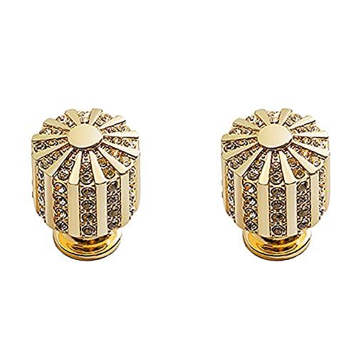 2 manijas de puerta de gabinete de diamantes de cristal de lujo, tiradores de armario, tiradores de cajón de armario, para armario, armario, armario, cajón, cocina (3,4x2,5x2,5 cm)((Oro brillante))