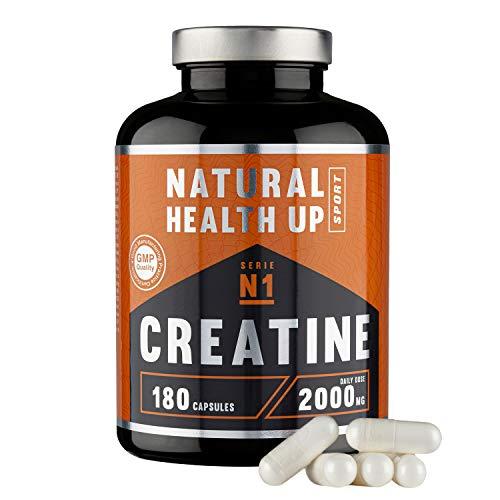Creatina monohidratada para aumentar la masa muscular y el rendimiento deportivo - Suplemento deportivo de creatina en cápsulas para mejorar la fuerza y la resistencia - 180 cápsulas de creatina