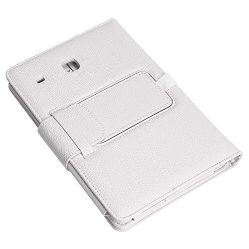 Xyamzhnn Funda de teléfono Bluetooth Keyboard extraíble de plástico + Patrón de Lychee Funda de Cuero PU con Soporte Adecuado, para Galaxy Tab E 8.0 (Color : White)