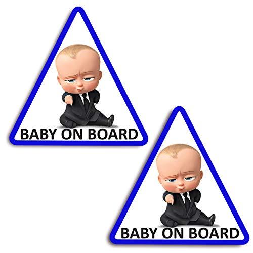 Biomar Labs® 2 x Adesivi Vinile Stickers Autoadesivi Decalcomania Bebè A Bordo Baby On Board Boss Bambino Bimbo Safety Sign Car Sicurezza Adesivi per Auto Moto Finestrìno Finestro Porta B 165