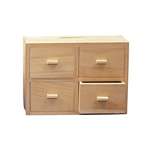 RAYHER 62380000 Holz Kommode FSC Mix Credit, 15 x 20 x 7 cm, 4 Schubladen