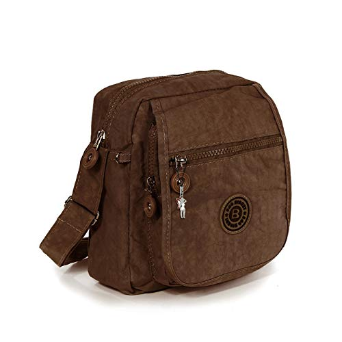 Tasche Umhängetasche braun Damenhandtasche Nylon DrachenLeder 20x22x10 D4OTJ218N Umhängetasche präsentiert von IMPPAC