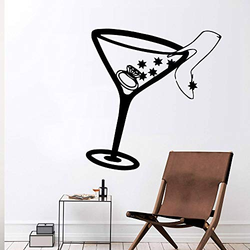 Cute cup high heels wall sticker decals home decoration living room mural bedroom decoration accessories decal sticker A8 43x44cm