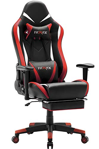 Ficmax Massage Gaming Chair Ergonomic Computer Gaming Chair with Footrest, High Back Gamer Chair For E-Sport, Reclining Gaming Desk Chair, Large Size Home Office Chair with Headrest and Lumbar Support