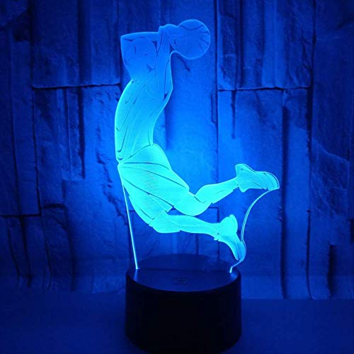 WisdomMi Night Stand Lamp Creative 3D Visual Basketball Dunk Led Night Light 7 Color Change Home Table Party Bar Decor Lamp Lighting Boys Fans Best Gifts Remote Control 16 Colors