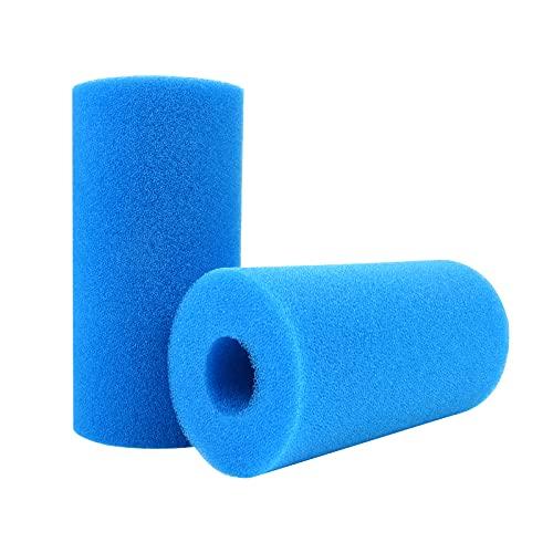2 Piezas Filtro de Espuma para Piscina, Filtro Tipo Esponja Filtro de Piscina, Esponja de Cartucho, Esponja de Filtro Lavable, Herramienta de Limpieza Reutilizable de Repuesto para Intex Tipo H Azul