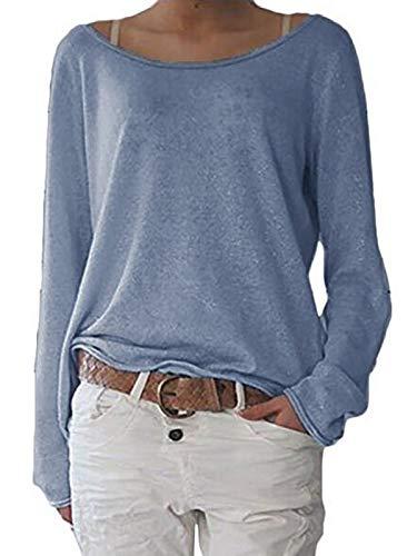 ZANZEA Damen Langarm Lose Bluse Hemd Shirt Oversize Sweatshirt Oberteil Tops Grau Blau EU 46/Etikettgröße XL