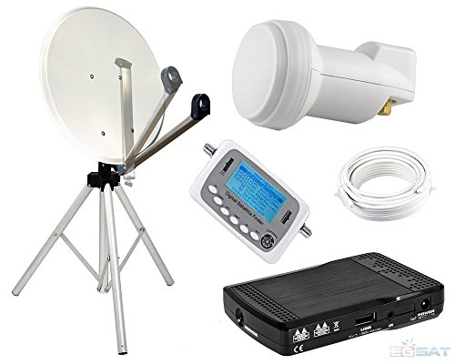 Camping–Antena parabólica y 65cm espejo–Pulsera LNB trípode HD Receptor Localizador Cable