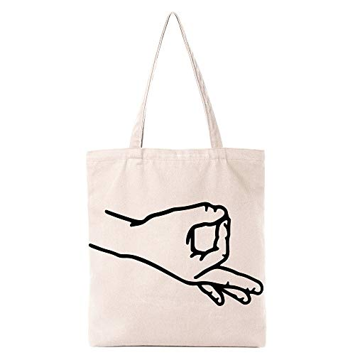 Funny Finger Circle Game Natural Cotton Canvas Reusable Tote Bag | Cute Eco-Friendly Shopping Bag Tote Bag Gifts for Women Sisters Best Friends | Organic Food Just Kidding It's Wine Tote