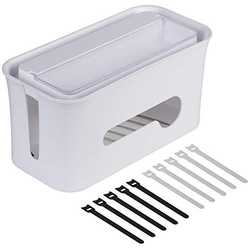 MATADORES Premium Kabelbox für Arbeitsplatz/TV | Kabelmanagement: Kabelsalat verschwindet | Smartphone/Tablet Halterung | Aufbewahrungsfach im Deckel | Inkl. 10 Klett-Kabelbinder | weiß | 29x14x13cm