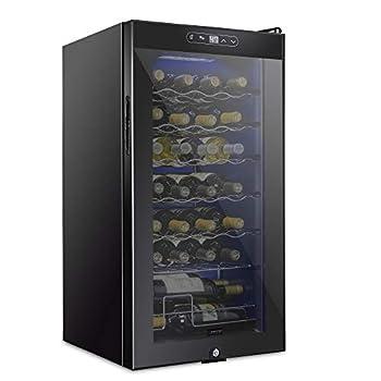 Schmecke 28 Bottle Compressor Wine Cooler Refrigerator w/Lock | Large Freestanding Wine Cellar | 41f-64f Digital Temperature Control Wine Fridge For Red White Champagne or Sparkling Wine - Black