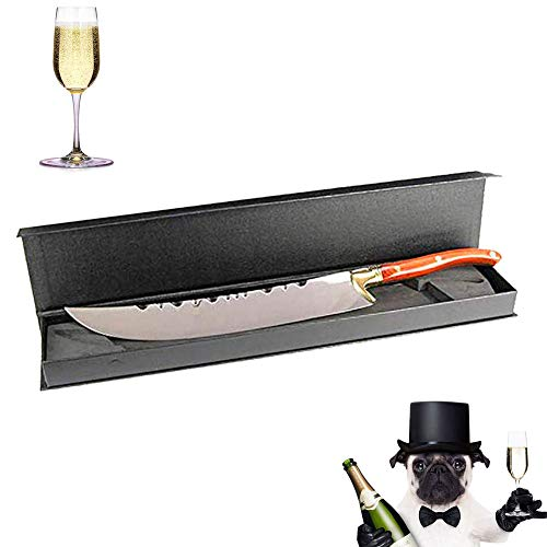 XuSha Champagne Saber Champagne Sword Wine Knife Bottle Opener Wood Handle with Wooden Box (Red hand + Gift Box)