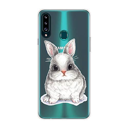 Herbests Kompatibel mit Samsung Galaxy A20S Hülle Silikon Case Transparent Silikon Schutzhülle mit Tiere Muster Ultradünn Stoßfest Rückschale Tasche Crystal Clear Soft Case,Kaninchen