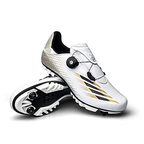 GSYNXYYA Zapatillas de Ciclismo, Zapatos de Bicicleta para Hombre de TPU Ligera, TPU, Zapatos de Bloques MTB Transpirables, sin Bloqueo Transpirables, Antideslizante (37-46EU),Blanco,43 EU