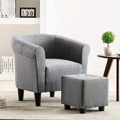 UnfadeMemory 2-TLG. Set Chesterfield-Sessel mit Hocker Stoffsessel Armsessel Fußhocker Stoff Relaxsessel Loungesessel Ergonomische Rückenlehne und Armlehnen (Hellgrau)