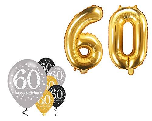 Feste Feiern Party-Deko zum 60. Geburtstag 8 Teile Set Zahlenballon Luftballon Folie Zahl 60 Gold Schwarz Silber metallic Dekoration Happy Birthday 60