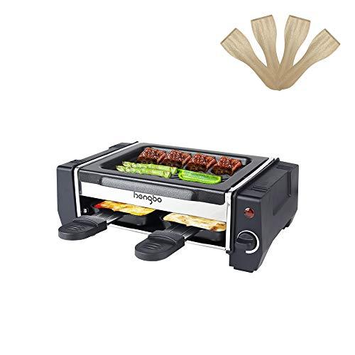 Raclette Grill 2 Personen, Mini Raclette mit 2 Pfännchen und 4 Holzspatel, Leichte Reinigung Antihaftbeschichtung - Regelbarer Thermostat - 500W, Schwarz