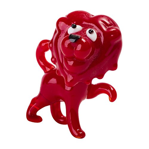 Tynies Handmade Glass Figurine with Collector's Frame - Luca Lion - Red1.9' x 1.6' x 1.2'