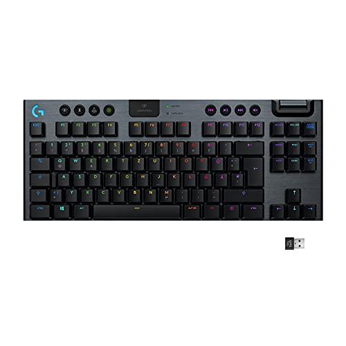 Logitech G915 LIGHTSPEED TKL Tenkeyless kabellose mechanische Gaming-Tastatur, Taktiler GL-Tasten-Switch, LIGHTSYNC RGB, Ultraschlankes Design, 40+ Stunden Akkulaufzeit, Deutsches QWERTZ-Layout