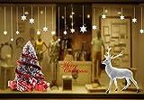 Yuson Girl Weihnachten Aufkleber Fenster Groß Süß Elch Und Weihnachtsbaum Abnehmbare Weihnachten Deko Wandtattoo Weihnachten Statisch Haftende PVC Aufkleber Fensteraufkleber Wandaufkleber Weihnachten - 5