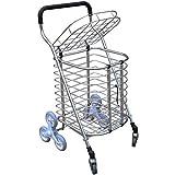 Pkfinrd Gran escalada, compras, coche, aleación de aluminio para la compra, plegable, con coche, 8 ruedas, gran capacidad