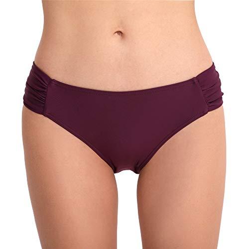Cherrydew Damen Badehose mit seitlichen Rüschen, volle Abdeckung, Bikini-Slip (lila, groß)