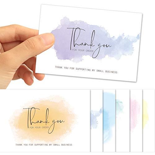60 Stück 10,2 x 15,2 cm Aquarell Dankeskarten für Ihre Bestellung Karte für Online-Shop, Einzelhandel, Kundenpaket-Einsatz