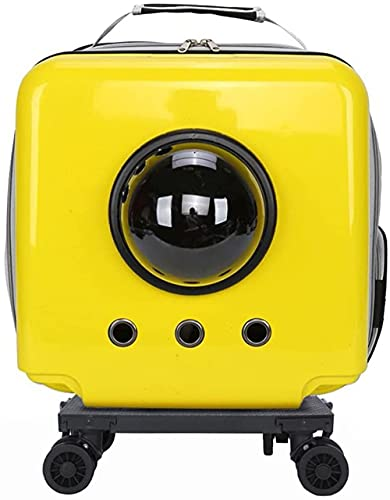 CDFCB Impermeable y Transpirable Pet Port por Pet Space Cable Caja de Carro para Mascotas Adecuado para Mascotas de Menos de 15 lbs (7 kg)-Amarillo