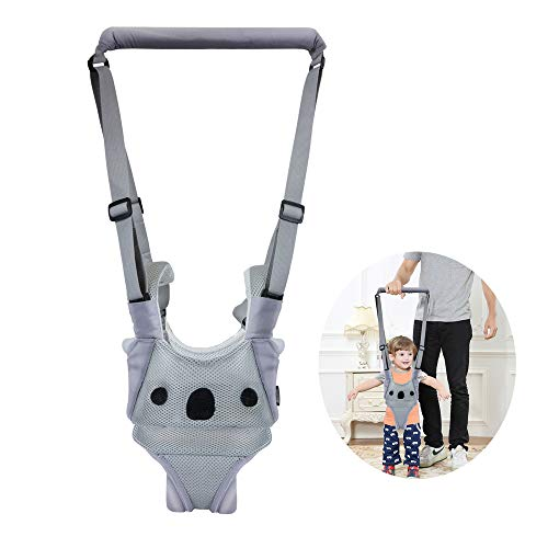 Baby Walking Harness Adjustable Detachable Mesh Baby Walker Assistant Protective Belt for Kids Infant Toddlers (Gray Koala Pattern)
