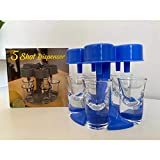 XZMY-TC 5 Shot Glass Dispenser with 5 Shot Glasses - Blue