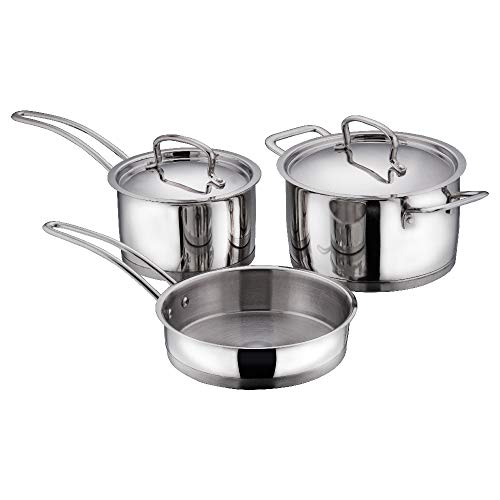 Vinod Classic Deluxe Stainless Steel Induction Friendly 3 Pcs. Set (16 cm Saucepan with Lid, 18 cm Sauce Pot with Lid, 20 cm Fry Pan Without Lid