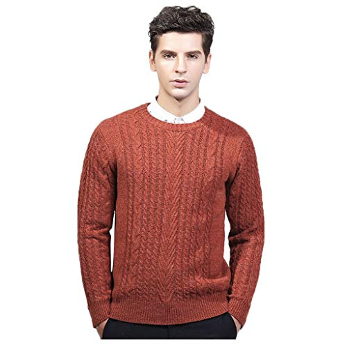 Amazing Deal Men Winter Knitted Long Sleeve Crewneck Warm Slim Fit Soft Cotton Cable Stitch Sweater ...