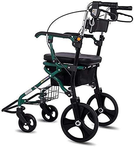 BRFDC Carro De Compras Rollator Shopping Walker Seniors Walking Frame Aid Movilidad Trolley Stroller Scooter Ligero Carrito Plegable con Asiento y Bolsa