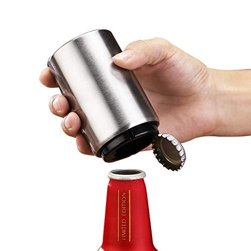 YUESUO ビール栓抜き 自動を押す 栓抜き マグネット ステンレス鋼ビール蓋抜き 滑り止めと ボトルキャップ ポータブル栓抜き マグネット 栓抜き 瓶 利便性 楽 ボトルオープナー ビールコークスクリュー 老若男女問わず に適しています