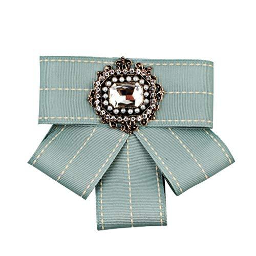 Fablcrew Multi-layer Bow Woven Tie Brooch,Bow Tie Rhinestone Ribbon Dangle Bowknot Brooches College Preppy Style Pre-tied Neck Tie for Women & Girl 12cm*10.5cm
