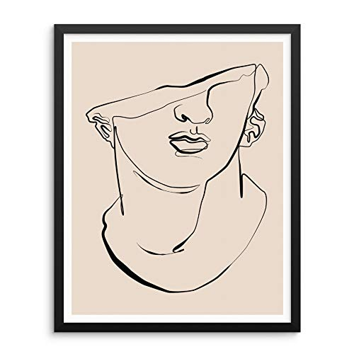 Sincerely, Not Abstract One Line Greek Sculpture Art Print Statue 11'x14' UNFRAMED Single Line Drawing Greek Bust Sculpture Home Decor Artwork for Bedroom Living Room or Bathroom (OPTION 1)