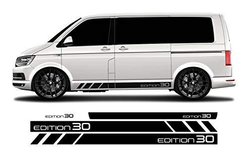 WRAP-SKIN Seitenstreifen Set Edition 30 passend für VW T4 T5 T6 Seitenaufkleber Aufkleber WS-03-08-10009 070M Schwarz Matt