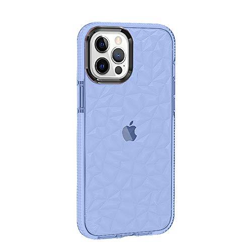 Rdyi6ba8 Funda Compatible con iPhone 12 Pro MAX, Carcasa Silicona Transparente Protector TPU Airbag Anti-Choque Ultra-Delgado Case 3D Modelo de Diamante Funda para iPhone 12 Pro MAX, Azul
