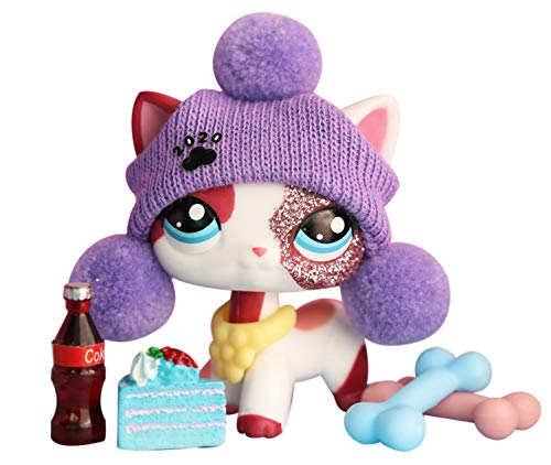 LovePets lps Shorthair Cat 2291, lps Cat Pink ans White Blue Eyes with lps Accessories Food Drink Dress Kids Gift