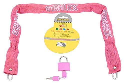 STAHLFLEX fiets kettingslot, met hangslot (roze)