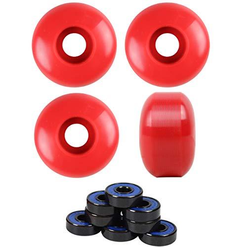 TGM Skateboards 56mm Blank Skateboard Wheels + ABEC 7 Bearings Spacers (Red)