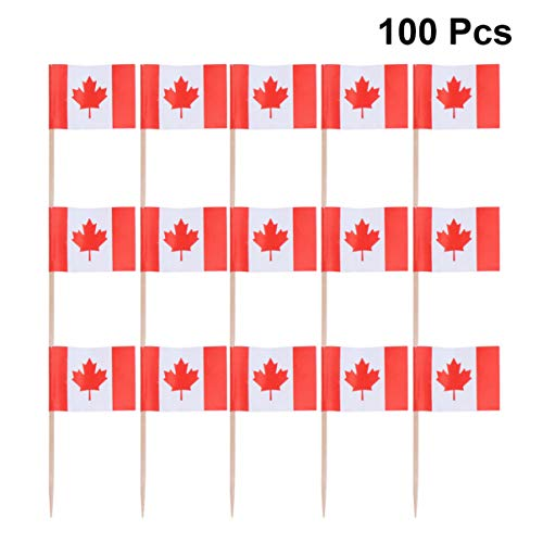 STOBOK 100 Stücke Kanada Zahnstocher Flagge Kleine Mini Stick Flags Picks Party Dekoration Feier Cocktail Essen Bar Kuchen Flags