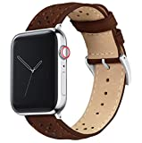 42mm/44mm Chocolate - Barton Racing Horween Leather Watch Bands with Integrated Quick Release Spring Bars- Compatible with All Apple Watch Models