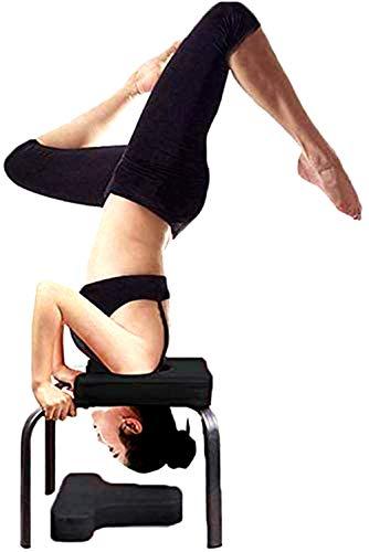 Banco de yoga para entrenamiento de yoga o de inversión, silla de gimnasio, banco de trabajo, silla auxiliar para gimnasio familiar, tubo de acero de poliuretano, banco de trabajo invertido, negro