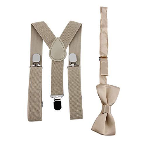 camellia® Verstellbar und elastisch t Metallclips Polyester Kinder-Design Hosenträger und Fliege Fliege Set passende Krawatten Outfits (Khaki)