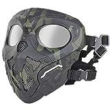 SGOYH - Máscara táctica para airsoft con malla de acero y protección completa para caza Paintball CS Wargame Halloween lente transparente (Negro-CP)