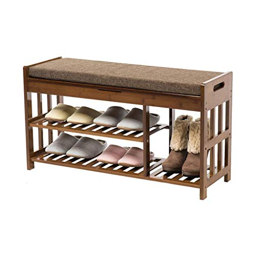ZZYE Zapatero Estante de zapatos de madera maciza con banco de gabinete de almacenamiento 2 botas de nivel organizador estantes de espacio ahorro de bambú Muebles de entrada de bambú Asientos de espon