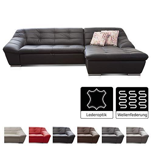 Cavadore Ecksofa Lucas / Couch in Lederoptik mit Steppung / Longchair rechts / 287 x 81 x 165 (BxHxT) / Kunstleder schwarz