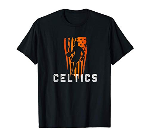 Vintage Basketball usa flag Gift For the Celtics lovers T-Shirt