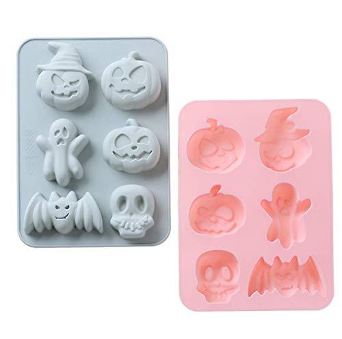 XSEXO Halloween Silikon Kuchenform - Kürbis Fledermaus Schädel Ghost Shape Silikonform Perfekt für Pudding, Eiswürfel, Schokolade, Cupcakes, Formen Silikon Backform Making Kit (2er Pack)